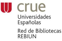 Logo de Rebiun: CRUE Universidades Españolas. Red de Bibliotecas REBIUN