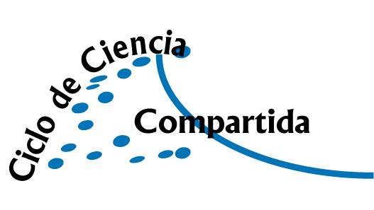 Logotipo con las palabras Ciclo de Ciencia en una línea curva ascendente, y la palabra Compartida en horizontal. Una línea curva y puntos azules dan apariencia de una cresta de ola