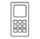 Icono en gris con la silueta de un teléfono móvil con teclado