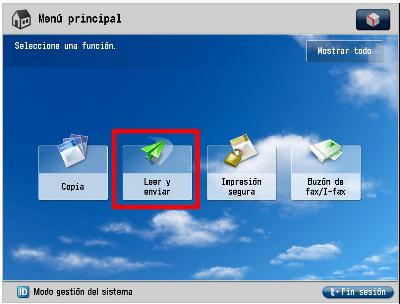 """Vista de una pantalla de un dispositivo con un menú principal con 4 iconos relativos a 4 funciones. Un rectángulo rojo sobrepuesto rodea el segundo de estos iconos, compuesto por un avión de papel, para ubicar la función de """"Leer y enviar""""."""