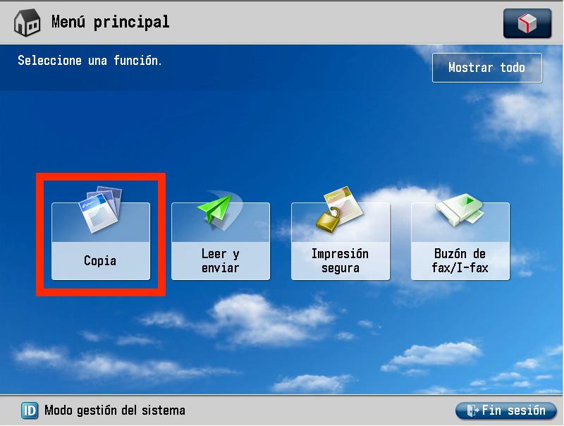 Vista de una pantalla de un dispositivo con un menú principal con 4 iconos relativos a 4 funciones. Un rectángulo rojo sobrepuesto rodea el primero de estos iconos, compuesto por varias hojas, para ubicar la función de copia.