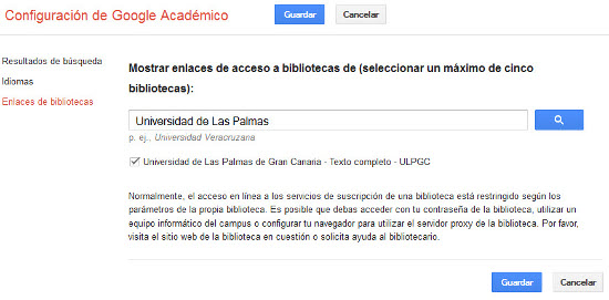 """Vista de la Configuración de Google Académico para seleccionar los Enlaces de la Biblioteca Universitaria, con el texto """"Universidad de Las Palmas"""" en el cajetín de búsqueda"""""""