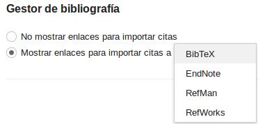 Vista de Configuración de Google Académico para seleccionar RefWorks