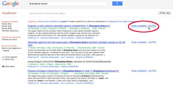 Resultados de búsqueda en Google Académico con el enlace Texto completo ULPGC, a la derecha de los resultados, rodeado en rojo