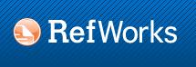 Logotipo de RefWorks, con letras en blanco sobre fondo azul, y un icono de página de documento con esquina doblada a modo de marcador