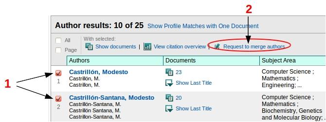 Vista de la búsqueda de autor y localización del botón Request to merge authors