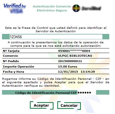 Vista de la pantalla de confirmación de la operación en la que hay que introducir el código de identificación personal.