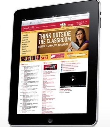 Vista de la página web de una universidad en un iPAD