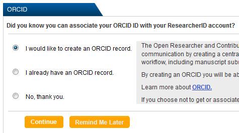 Imagen de cómo integrar ORCID al entrar en ResearcherID