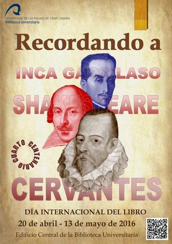 Cartel del Día del Libro 2016 con imagen de Inca Garcilaso, Cervantes y Shakespeare