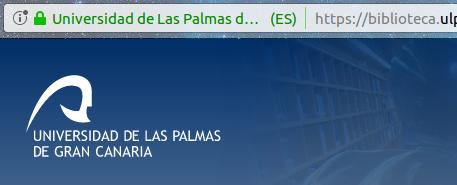 Vista de la parte superior del portal web de la Biblioteca Universitaria y parte de la barra de direcciones del navegador en el que se muestra el icono de acceso seguro, un candado verde cerrado.