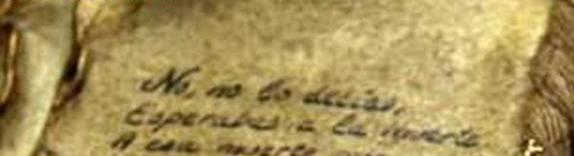 Vista de una parte del cartel anunciador de la exposición con el inicio de un texto manuscrito sobre un libro antiguo
