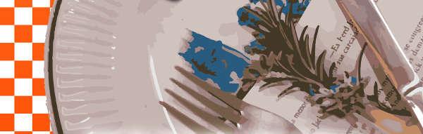 Vista de detalle del cartel anunciador de la exposición con imagen modificada digitalmente de un plato que contiene un libro abierto sobre el que descansan tenedor y cuchillo y una ramita de romero. Parcialmente se ve un fondo de cuadrícula blanca y naranja al estilo de mantel de cocina.