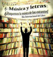 Parte central del cartel con los datos del título sobre una imagen de fondo de un director de orquesta dirigiento libros multicolores en estantes. El título y los libros tienen una distorsión ondulante