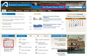 Vista de la cabecera del sitio web de la Biblioteca Universitaria donde un recuadro rojo señala las opciones Faro, Revistas-e y Libros-e del buscador, y otro recuadro rojo señala la ubicación de los enlaces rápidos Faro, Recursos-e AZ, Revistas-e AZ, Libros-e AZ