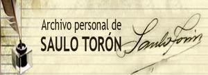 Vista de un área del portal Web de Saulo Torón con su fotografía, cuaderno, gafas, pluma y tintero