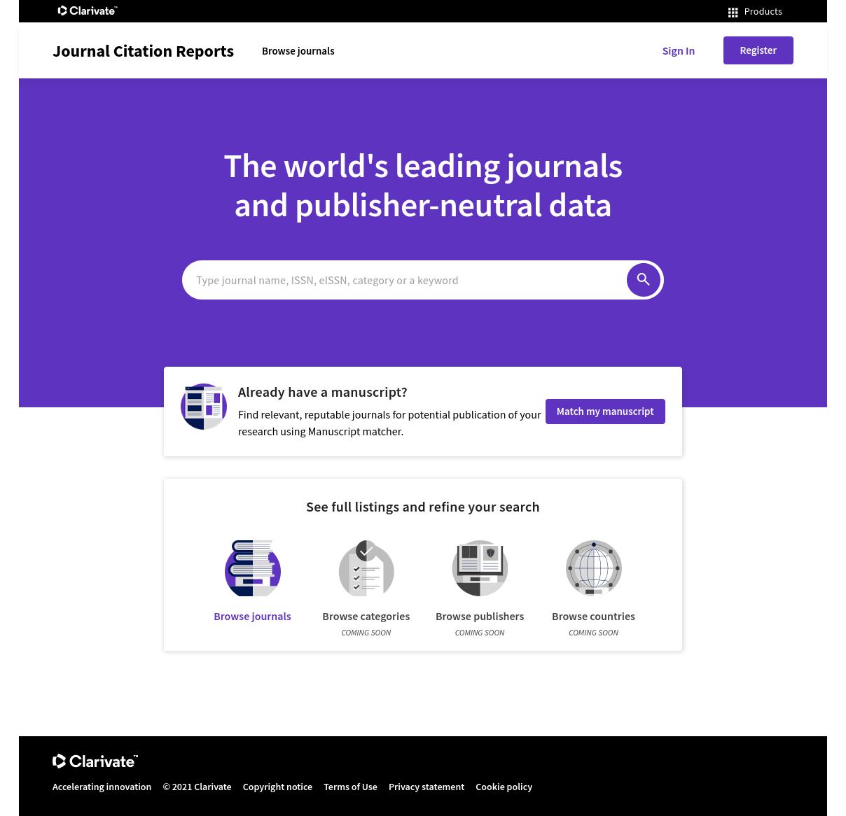 Vista completa de la página de inicio de JCR