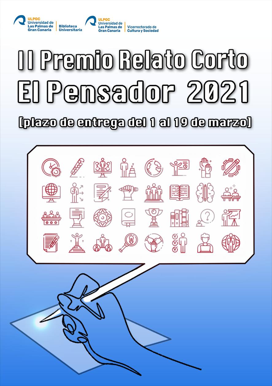 Cartel del Premio, con una mano que escribe en una hoja tomando como pluma la punta de un globo de comic en cuyo interior se alinean 32 iconos prediseñados de actividades