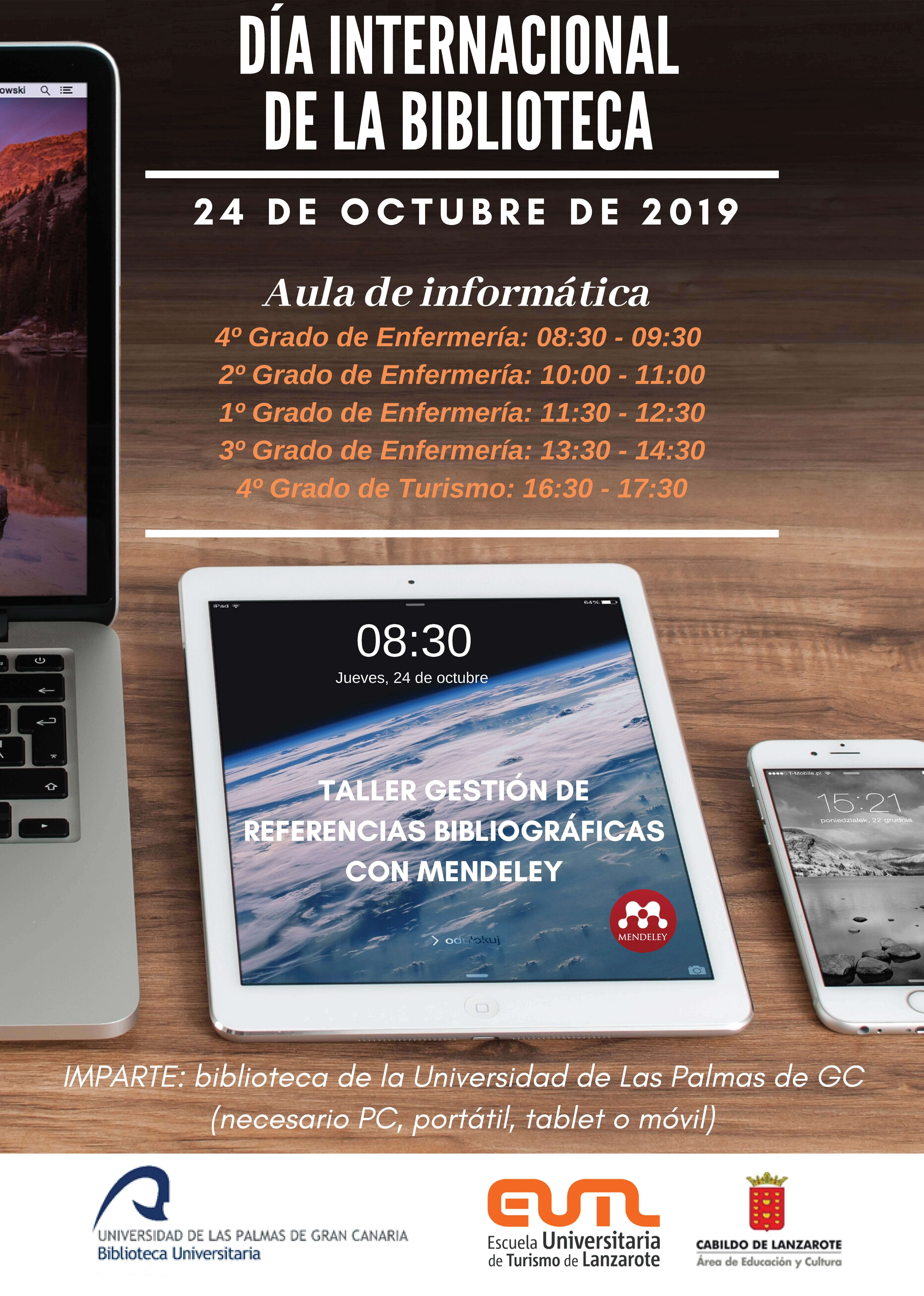Cartel Día Internacional de la Biblioteca en Lanzarote