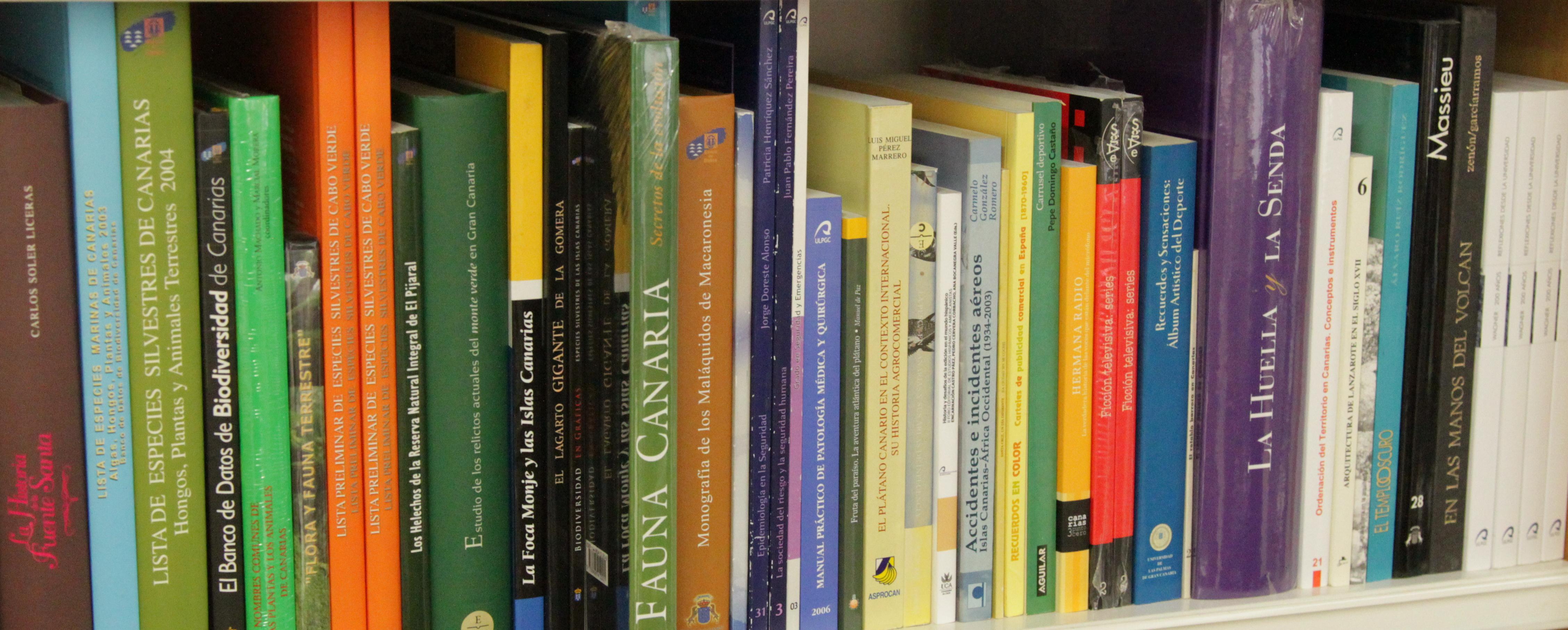 Vista de libros en un estante